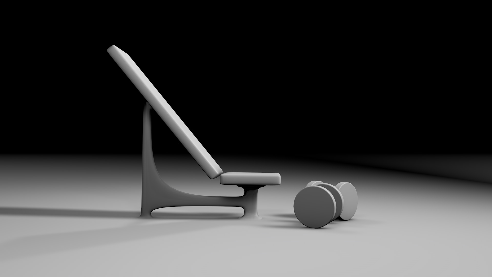 3D model of a bench and two dumbbells from the side
